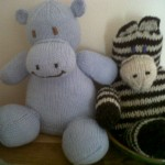 A hippo and a zebra I knitted for my gorgeous littlest niece.